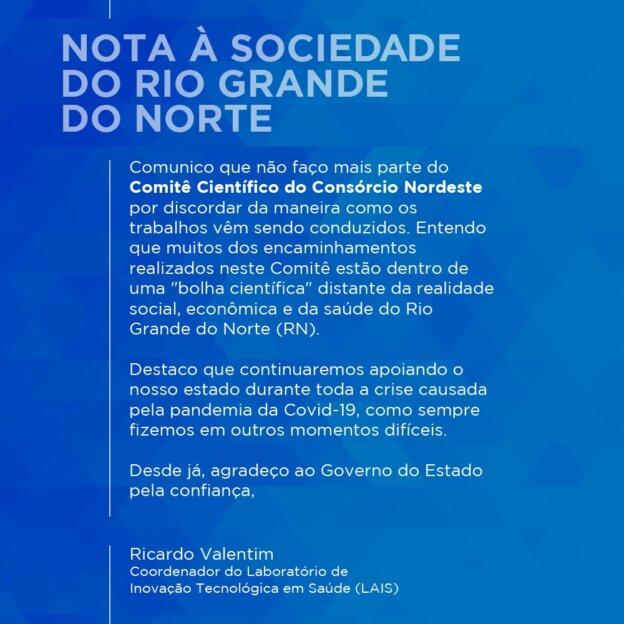 NOTA A SOCIEDADE DO RIO GRANDE DO NORTE