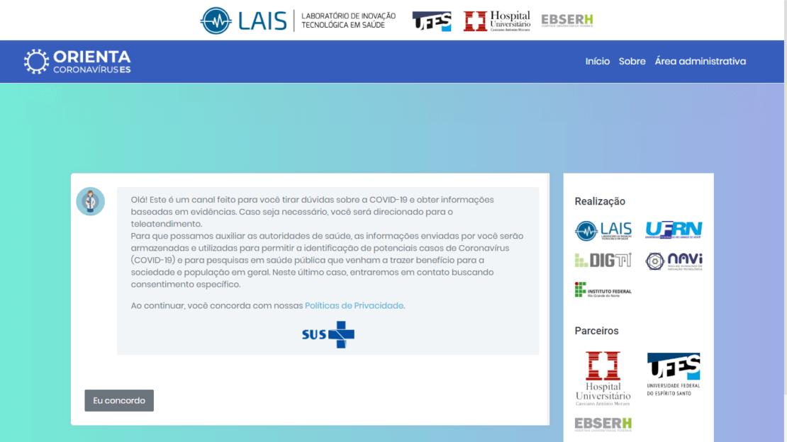 Em parceria com Núcleo Telessaúde da UFES, sistema Orienta Corona é disponibilizado no estado do Espírito Santo
